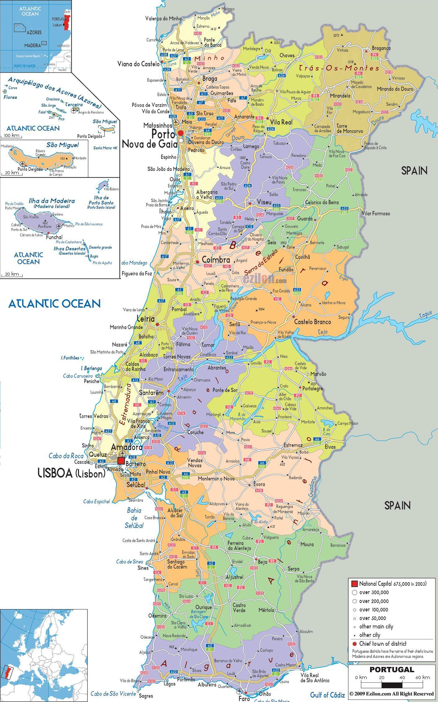 portugália térkép Portugália térkép városok   Térkép Portugália a városok (Dél