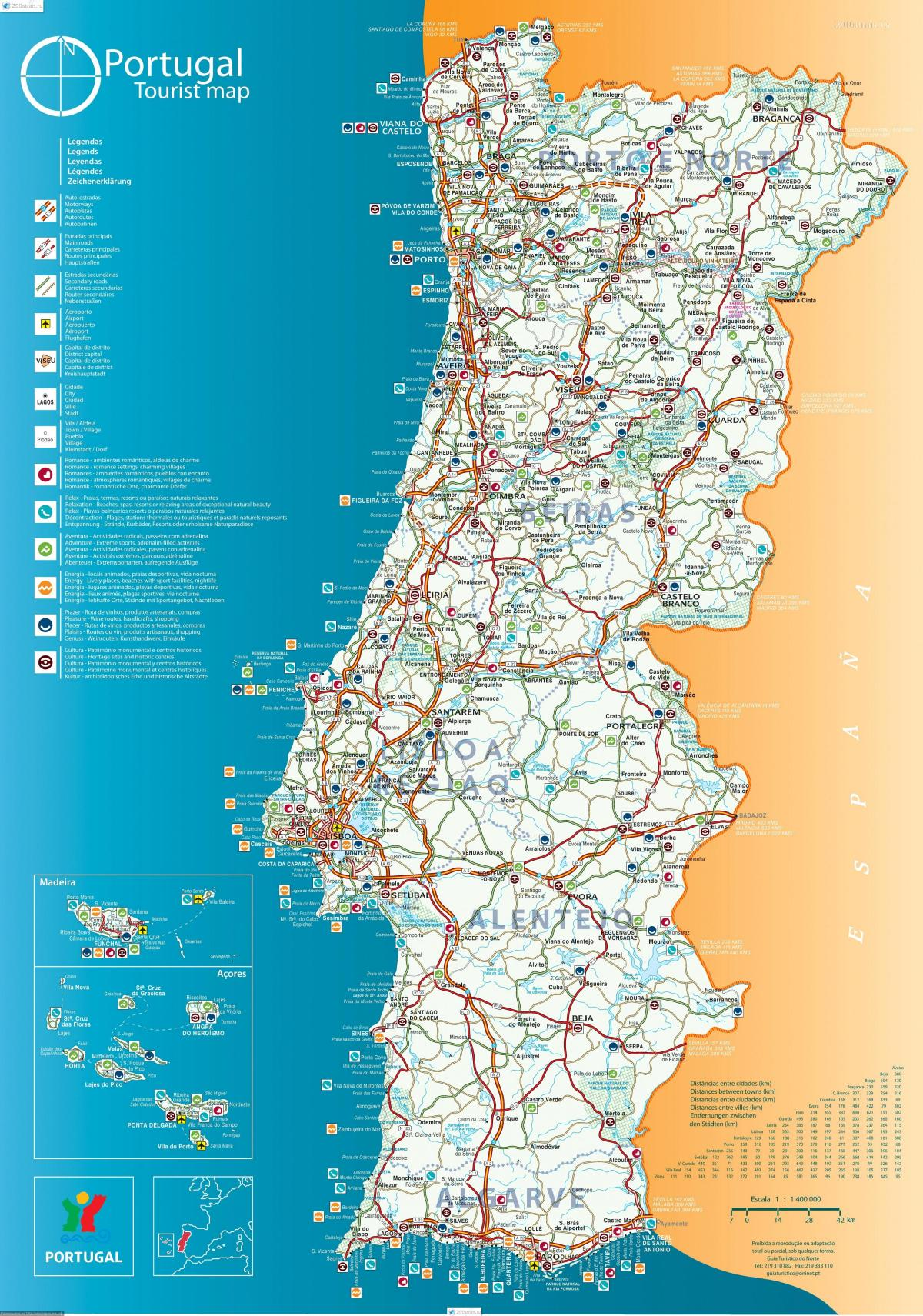 portugália térkép Portugália resorts térkép   Térkép Portugália üdülőhelyek (Dél  portugália térkép